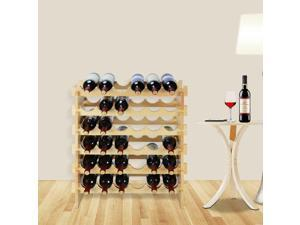 36 Bottles Holder 6 Tiers Stackable Storage Stand Home Wood Wine Rack