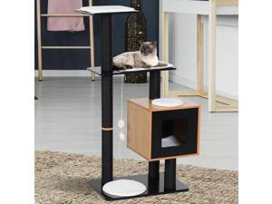 Cat Tree Condo with Sisal Scratching Post and Washable Mat