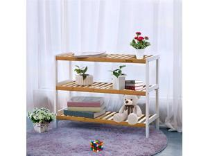 Home Bamboo Shoe Rack Organizer 3 Tiers Shelves for 12 Pairs of Shoes