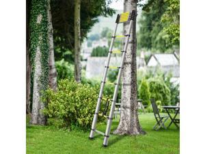 12.5ft Portable Aluminum Telescoping Extension Ladder Retractable Outdoor Indoor