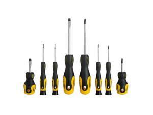 Slotted  Phillip Magnetic Screwdriver Set with Double Color TPR Handle, 8pk/Set