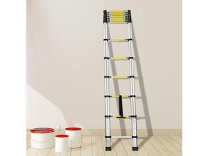 Outdoor 12.5ft Portable Aluminum Telescoping Extension Ladder Retractable Indoor