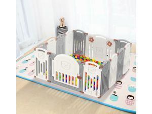 new 14-Panel DIY Baby Playpen Foldable Safety Activity Center Playard w/Locking