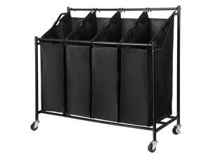 Home Bath Rolling Laundry Sorter Cart Heavy-Duty Sorting Hamper-Removable 4 Bags