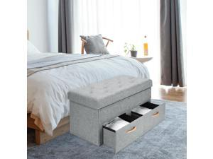 ® Tufted Fabric Storage Ottoman Lift Top Shoe Bench Seat Footrest Stool