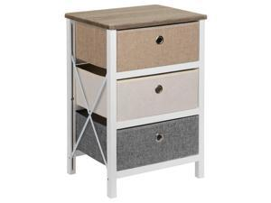 MDF End Table Bedroom Nightstands with 3-Drawers Dresser Organizer