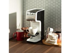 2 In 1 Single Serve Coffee Maker Brewer, Ground  K-Cup Pods, Slim Design, White