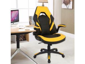 Black  Yellow Racing Gaming Chair, Computer Chair with Flip Up Arms