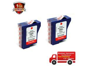 2PK Compble Red Fluorescent Ink Cartridge For Pitney Bowes 797-0 797-M 797-Q