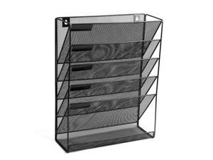 ® 5 Tray Compartments Mesh Wall Mounted File Holder Home office, Black