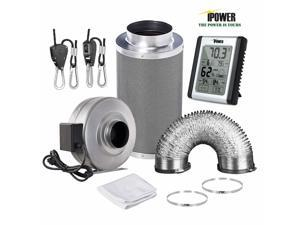 4''/6''/8'' Inch Inline Fan Carbon Filter Ducting  Humidity Monitor