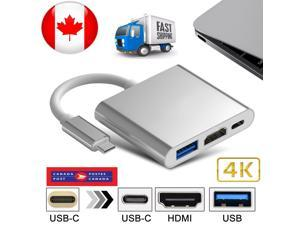 Type C USB 3.1 to USB-C 4K HDMI USB 3.0 Adapter 3 in 1 Hub For Mac book Pro CA
