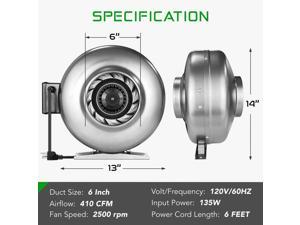 Inline Duct Ventilon Fan HVAC Exhaust Blower for Grow Tent VERSION 2