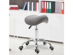 Adjustable Rolling Salon Stool Swivel Saddle Chair SPA Beauty Seat Grey