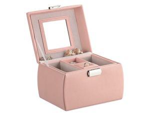 Leather Jewelry Organizer Lockable Mirrored Storage Case, Pink -
