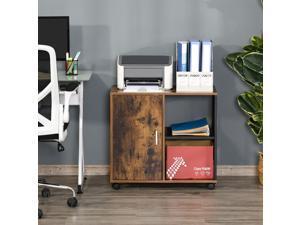 Printer Stand Home Office Mobile Storage Cabinet Organizer with Castors, Door