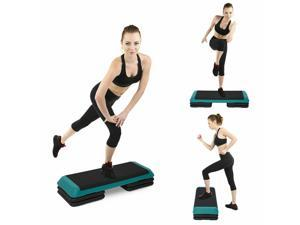 "43"" Aerobic Platform 4""-6""-8"" Cardio Fitness Exercise Stepper W/ Risers"