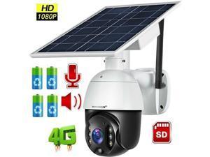 1080P HD Solar Power Security Outdoor PTZ Camera 4G/WiFi Cloud/SD Card Stroage