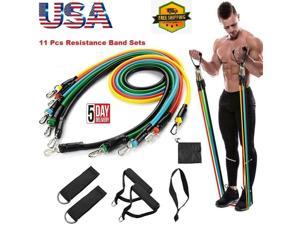11Pcs Set Resistance Bands Yoga Pilates Abs Exercise Fitness Latex Workout Bands