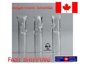 3X Smoking Glass tips Reusable Filter Tips Flat Round Head Glass Mouth Tips