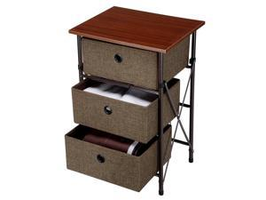 Room Home Iron Framed End Table Storage Shelf Organizer 3-Bin Drawers Removeable