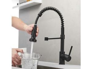 Single Handle Pull Down Spring Sprayer Kitchen Sink Faucet For Home - Matt Black