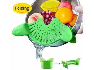 NEW Clip-on Silicone Pan Strainer Pot Drainer Fruit Colander Food Filter Kitchen