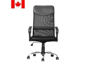 Adjustable Mesh Office Chair with Fixed Arms, High Back, Fabric Seat, Black