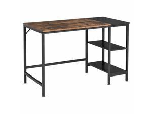 Computer Desk, Home Office Workston w/ 2 Storage Shelves, Steel Frame