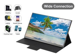 USB-C Portable Monitor -100% DCI-P3 Color Gamut 15.6 Inch FHD HDR  Zero Frame USB-C Computer Display with Dual Type-C Mini HDMI for Laptop PC Phone Mac Surface Xbox PS4 Switch, with Smart Case U15R-01