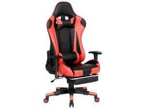 Wlvos Gaming Chair Ergonomic High Back PU Leather Racing Chair with Lumbar Support Headrest for Gamer Adjustable Reclining Racing Chair Red