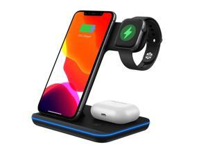 YOOZI 3 in 1 Wireless Charger Stand, 15W Wireless Charging Dock Station Qi Fast Charging Pad for iPhone X/XS/XR/8/8 Plus for iWatch 4/3/2/1 S9