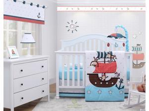 6-Piece My Little Pirates Blue Baby Boy Nursery Crib Bedding Sets By OptimaBaby