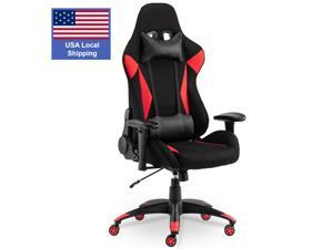 SMUGDESK Gaming Chair Racing Computer Desk Office Chair High Back Game Chair Seat Height Armrest Adjustable Swivel Ergonomic Task Chair with Headrest and Lumbar Support,Red