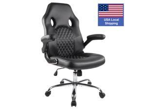 SMUGDESK Office Chair, Gaming Chair Leather, Computer Desk Chair Task Swivel Executive Chairs High Back with Padded Seat Armrests and Rolling Casters (Black)