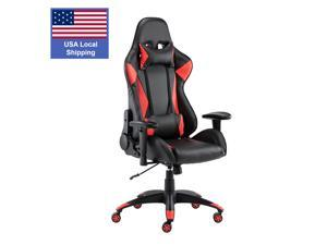 SMUGDESK Gaming Chair,Ergonomic Racing Office Chair High Back Task Chair Swivel PU Leather Computer Desk Chair Adjustable with Lumbar Support Headrest,Red