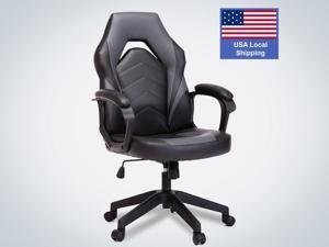 SMUGDESK Racing Gaming Chair Executive Bonded Leather Computer Office Chair with Adjustable Height and Padding Armrest, Grey