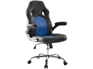 SMUGDESK Office Chair, Gaming Chair Leather, Computer Desk Chair Task Swivel Executive Chairs High Back with Padded Seat Armrests and Rolling Casters (Blue)