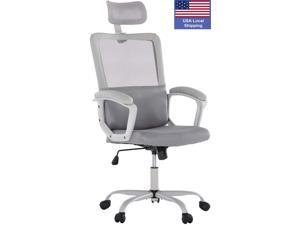 SMUGDESK Mesh chair Black Desk Chair Computer Office Chair,Ergonomic Office Desk Computer Chair Mesh Computer Chair with Adjustable Arms and Headrest Lumbar Support, Gray