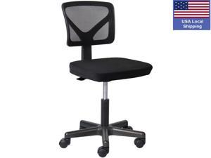 SMUGDESK Armless Office Chair Mesh Ergonomic Computer Chair Lumbar Support Low Back with Rolling Casters for Small Spaces