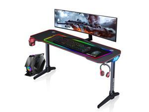 ESGAMING 55.2 Inch RGB light strip Gaming Desk  PC Computer Desk Y-shaped Table Home Office Desk with over-size full black Mouse Pad, Free Headphone Hook, Gaming Handle Rack and Cup Holder (Black)