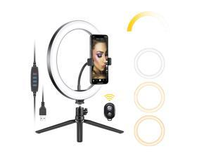 Neewer 10-inch USB LED Ring Light with Tripod Stand, 3 Light Modes/10 Brightness Level for YouTube Tiktok Video Makeup Selfie Live Streaming Photography, Flexible Phone Holder and Remote Included