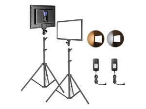 Neewer LED Video Lighting Kit with 75inch Light Stand: 2-Pack 384 LED Soft Video Light, Built-in Lithium Battery, 3200K-6500K Video Lighting Kit for Photography YouTube Video Studio Shooting