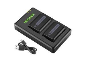 Neewer 2 Pieces 1100mAh Replacement Li-ion Battery for Sony FW50 and Micro USB Input Dual Charger for Sony Alpha 7 A7 7R A7R A7RII A7II A3000 A6300 A6000 A6500 DSLR Cameras, VG-C1EM VG-C2EM Grips