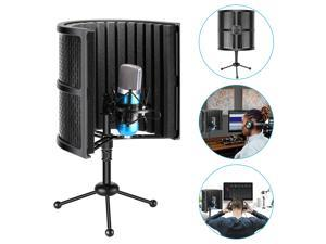 Neewer Tabletop Compact Microphone Isolation Shield with Tripod Stand, Mic Sound Absorbing Foam for Studio Sound Recording, Podcasts, Vocals, Singing, Broadcasting (Mic and Shock Mount Not Included)
