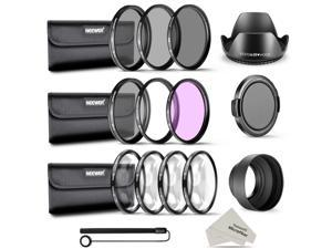 Neewer 58MM Complete Lens Filter and Accessory Kit: 58MM Filters(UV/CPL/FLD), Close-up Filters(+1/+2/+4/+10), ND Filters(ND2/ND4/ND8), Lens Hoods, Lens Cap, Cap Keeper Leash, Filter Pouches, Cloth