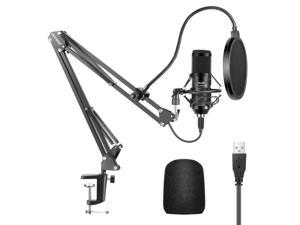 Neewer USB Microphone Kit, 192KHZ/24Bit Supercardioid Condenser Microphone with Boom Arm and Shock Mount for YouTube Vlogging, Game Streaming, Podcasting, and Skype Calls, Plug&Play(Black)