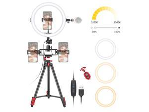 Neewer 10-Inch Selfie Ring Light with Tripod Stand, 3 Phone Holders, LED Ring Light with Soft Tube & Remote Kit: 3 Mode Lights and 10-Level Brightness for Makeup, YouTube/TikTok Video, Live Streaming