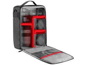 Neewer NW140S Waterproof Camera and Lens Storage Carrying Case 8.7x5.9x12.6 inches Soft Padded Bag for Canon Nikon Sony DSLR, 4 Lens or Flash, Trigger, Battery Accessories(Grey)