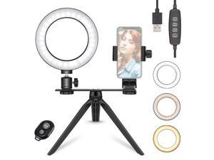 Neewer 6-inch LED Ring Light with Tripod Stand for Makeup YouTube Video, Mini USB LED Camera Light with Phone Holder, Dual Mount Bracket, Remote for Live Stream, 3 Light Modes & 11 Brightness Level